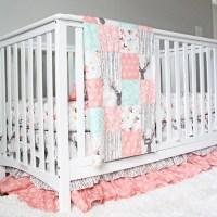 Girl Crib Bedding Woodlands Fawn Girl Baby Bedding Baby Girl