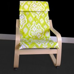 Ikea Velcro Chair Covers Seat Elastic Lime Green Indian Ikat Children's Poang Cover
