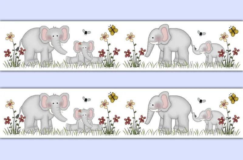 Girl Bedroom Wallpaper Border Elephant Wallpaper Border Wall Decal Jungle Safari Animals