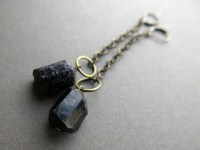 Raw Stone Earrings Black Tourmaline Jewelry Black Crystal