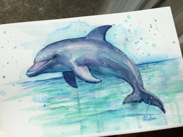 Dolphin Watercolor Painting