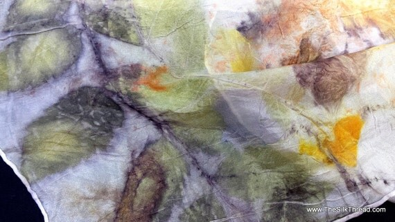Mother Nature's Colors and designs on SILK scarf, beautiful, sustainable art, soft spring colors, original, ecodye & ecoprint art by artist