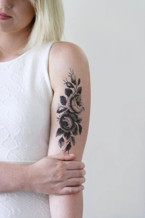 large floral temporary tattoo