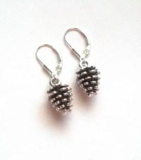 Pine Cone Earrings Sterling Silver Pine Cone Earrings