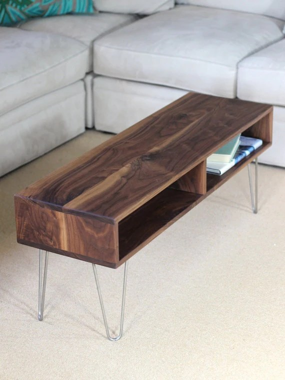 Mid Century Modern Style Coffee Table with Stainless by
