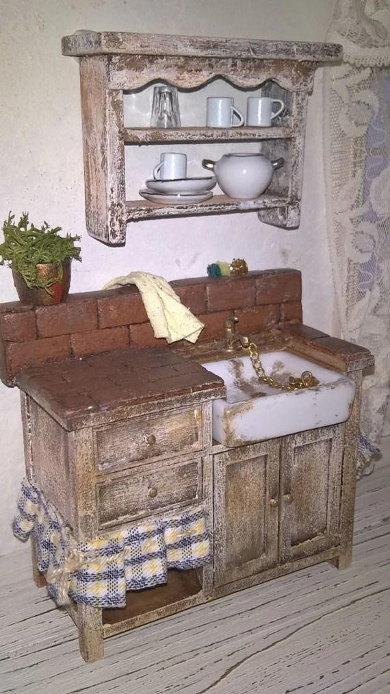Miniature Dollhouse KITCHEN SINK with plate rackminiature