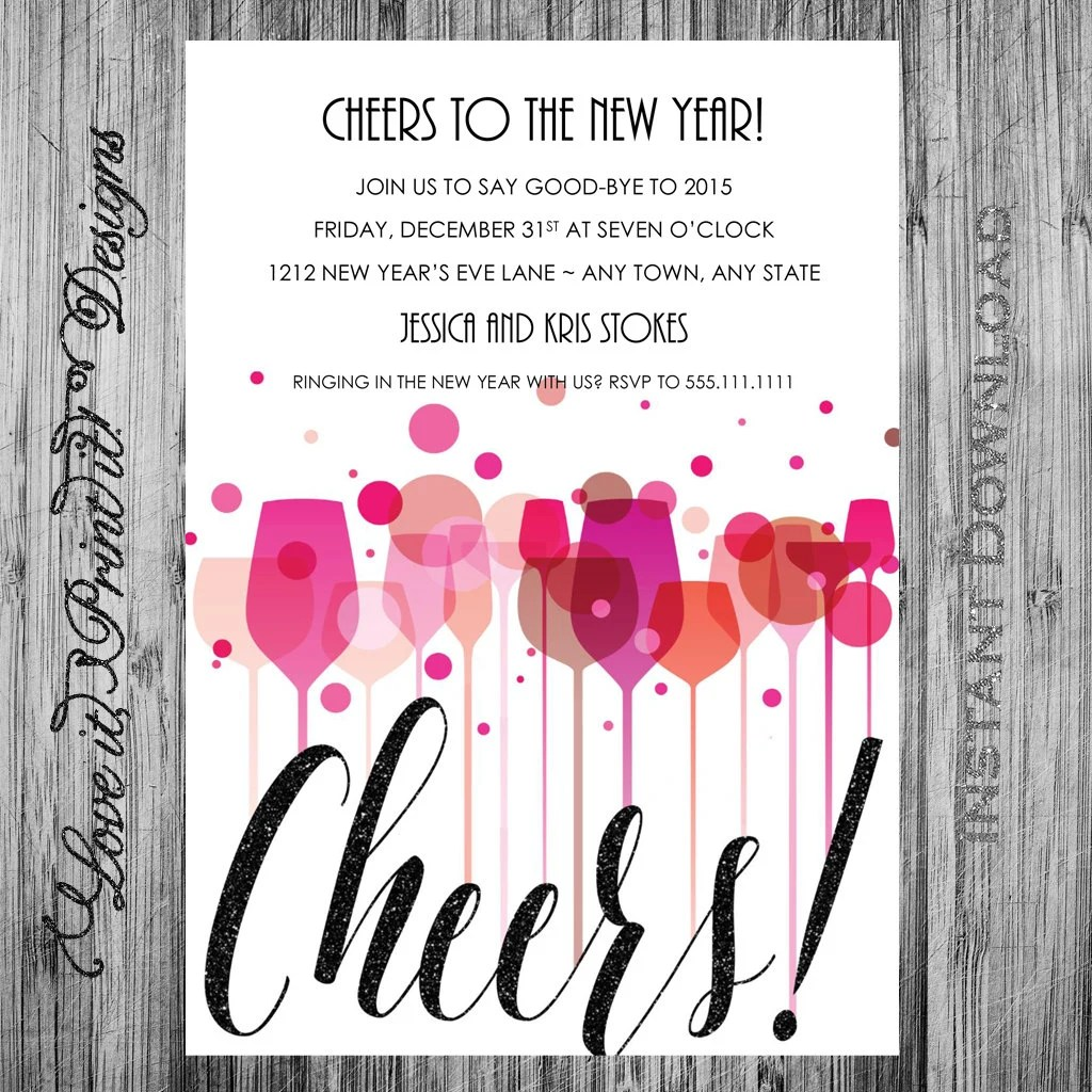 New Years Eve Party Invitation DIY Template Cheers New