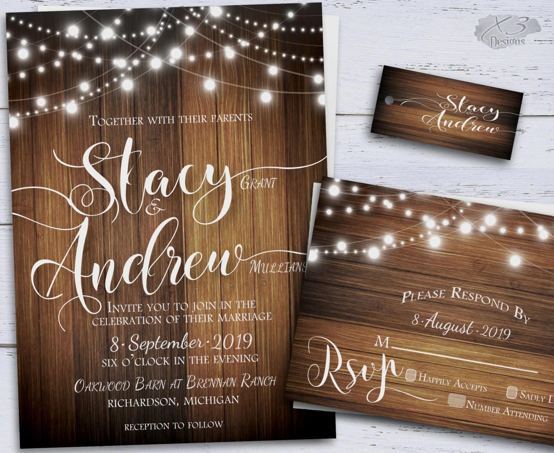 Rustic Wedding Invitation Country Diy Printable By X3designs