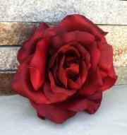 wedding hair flower-marsala red