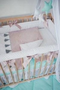 Dusty rose girl crib bedding baby girl nursery set tassel