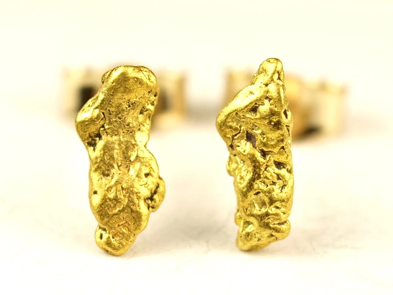 Natural Gold Nugget Stud Earrings with 14k posts and backs