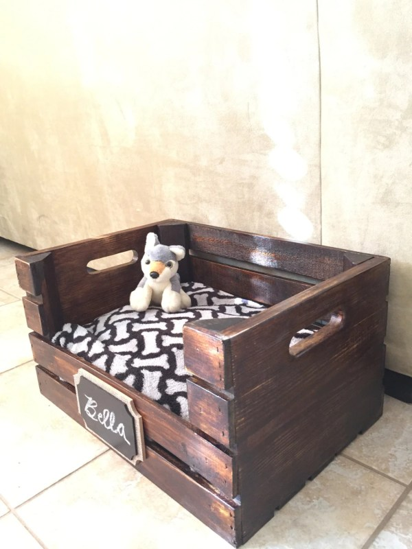Wooden Dog Bed Wine Crate Small Dogs Free