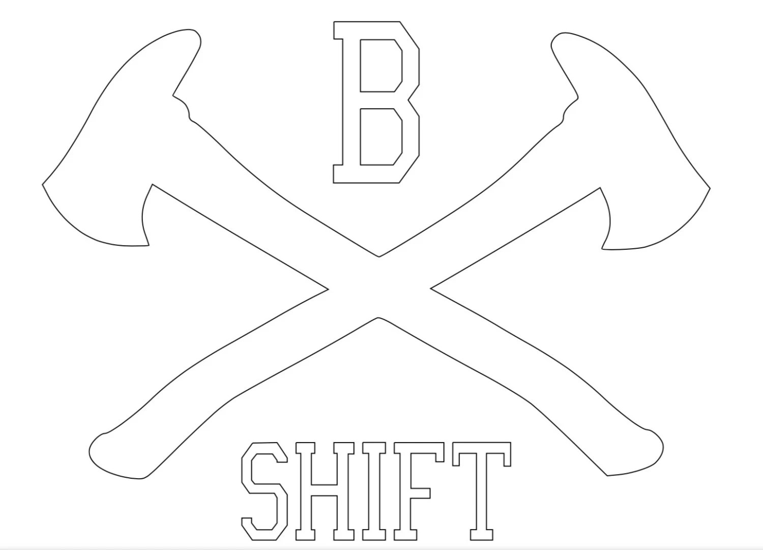 Fire Department B Shift Crossed Axes Vinyl Decal