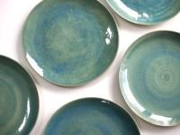 Stoneware Plates Dinner Set glazed in green. Ceramic Plate.