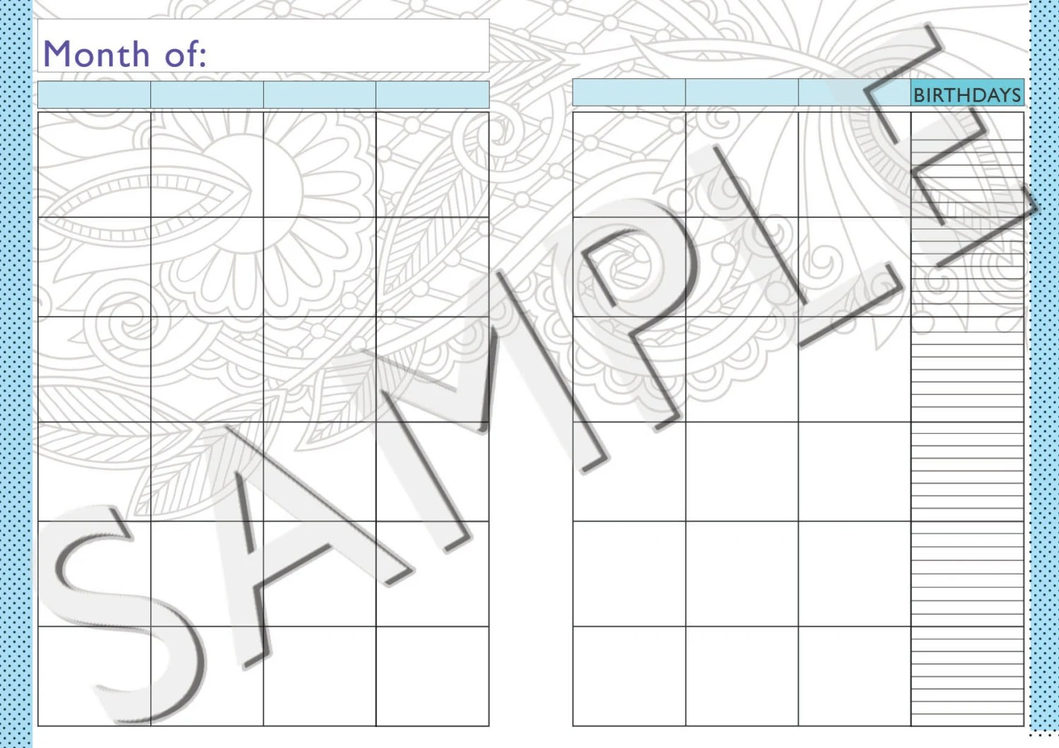 Items similar to A5 Monthly 2016 Calendar printable for
