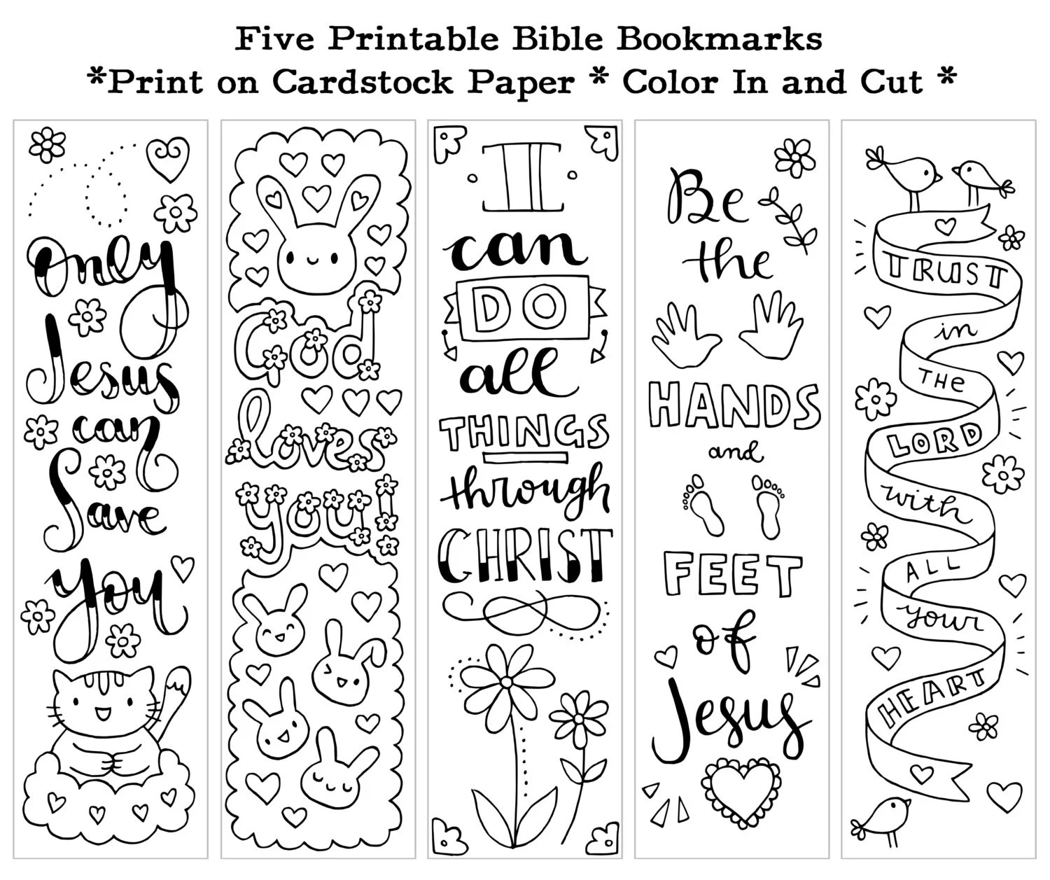 Five Instant Printable Color In Cute Bible Bookmarks by SusyAn