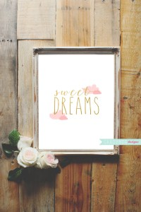 Sweet Dreams Wall Decor Quote Printable Clouds Nursery