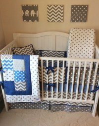 Baby Boy Crib Bedding Set Denim Blue and Gray