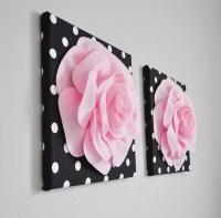 Home Decor Wall Art Light Pink and Black Rose Flower Burst