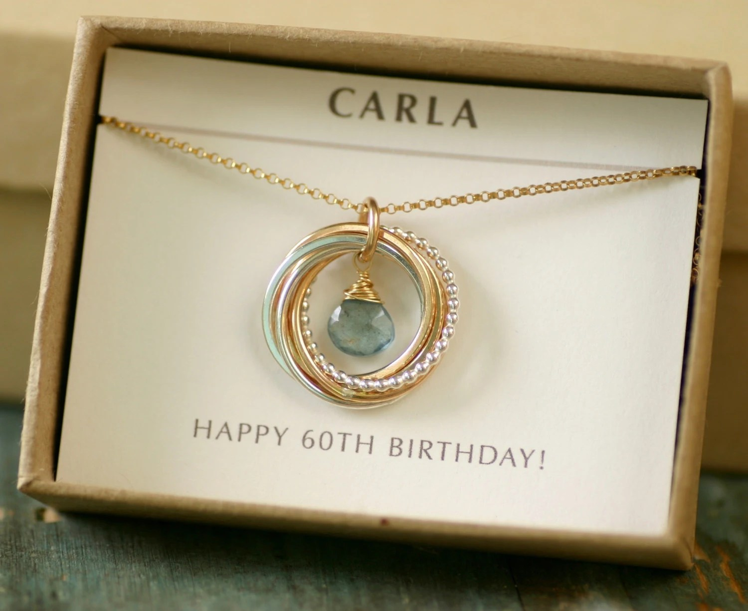 60th Birthday Gift For Women Aquamarine Necklace For Mom Gift