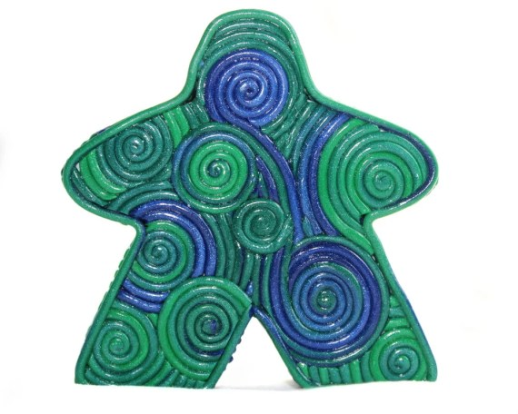 Blue Green Swirly Meeple Decor , 3