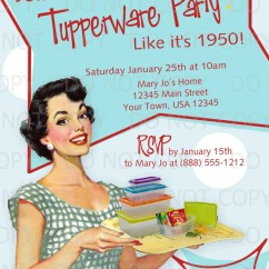 Kitchen Bridal Shower Invitations Inexpensive Cabinet Makeovers Printable Diy 50's Retro Housewife Theme Tupperware Party