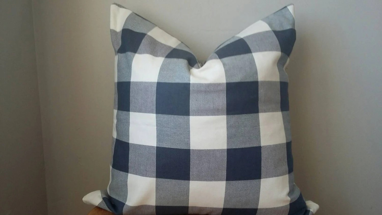 Designer Fabric buffalo check plaid pillow cover navy blue