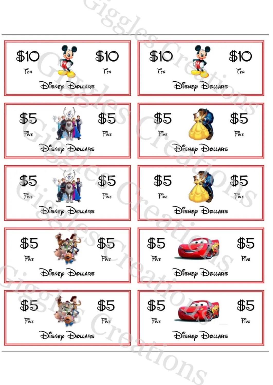 Printable Disney Money Disney Dollars Instant Download