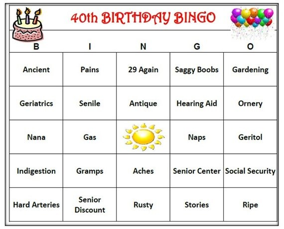 40th Birthday Party Bingo Game 60 Cards Old By