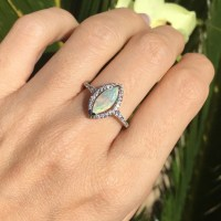 Marquise Opal Engagement Ring Opal Promise Ring for her
