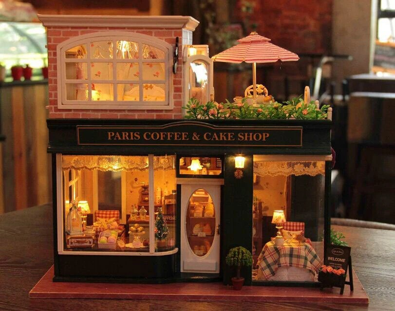 Dollhouse Miniature Cafe Furniture Diy Kit Paris Cafe