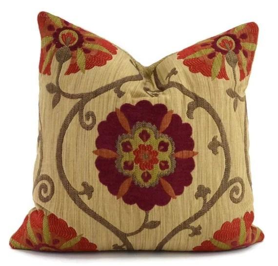 Red Orange Brown  Tan Suzanni Throw PIllow Cover Moroccan