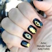 metallic gold nail decal tribal