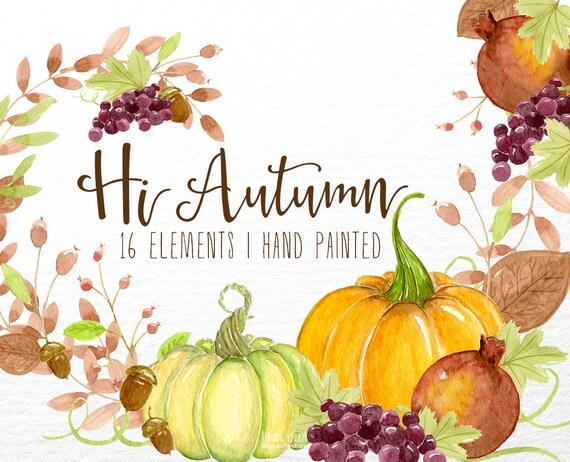 Watercolor Fall Clip Art Autumn Clipart Watercolor Pumpkin