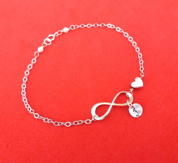 Personalized Infinity Bracelet Infinity Heart Bracelet Heart