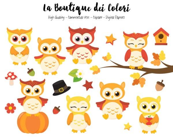 fall owls clipart cute digital