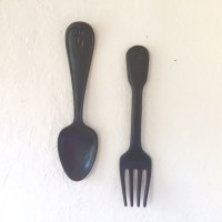 X-large fork and spoon wall decor distressed shabby chic