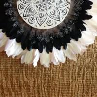 Tribal Mandala Black White Feathers Round Wall Art White
