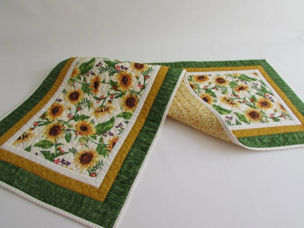 Quilted Sunflower Print Table Runner Add Sunflowers
