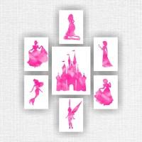 Disney Princess Wall Art Castle Watercolor by myfavoritedecor