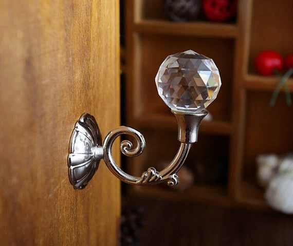 Rhinestone Glass Wall Hooks Decorative Hooks Clear Rhinestone