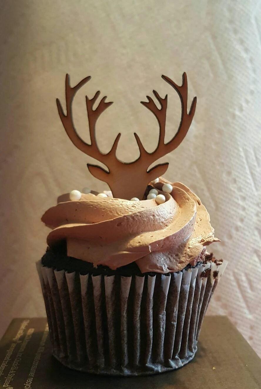 Wooden Deer Cupcake Topper Deer Antlers cupcake grooms cupcake