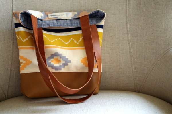 Art Canvas And Leather Tote Bag