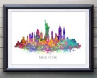 New York Skyline Watercolor Art Poster Print Wall Decor