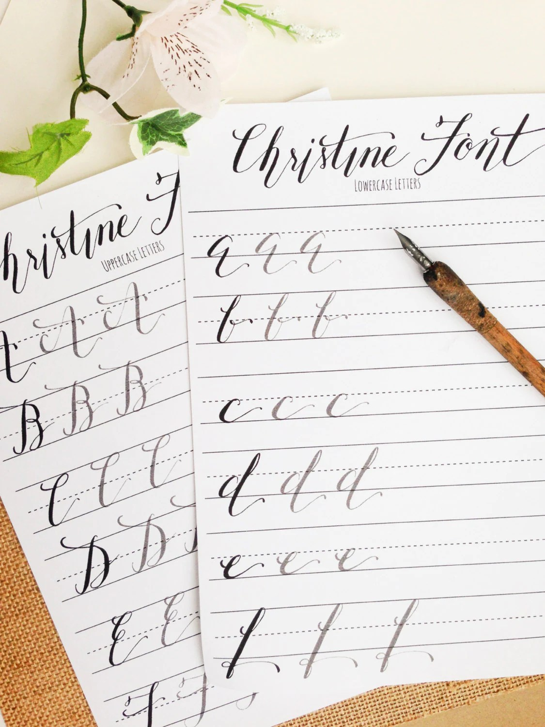 Modern Calligraphy Practice Worksheets Uppercase And