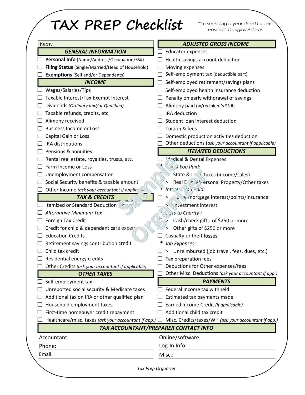 Printable Tax Prep Checklist Tax Return Organizer Financial
