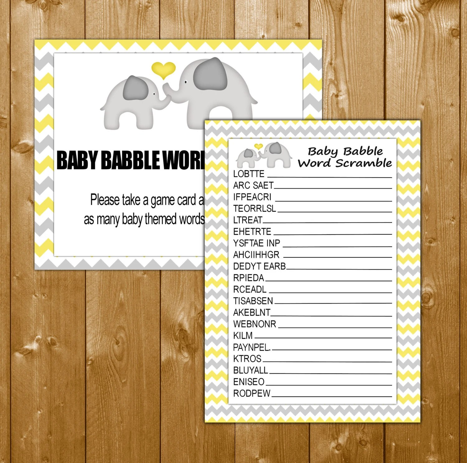 Baby Shower Games Word Scramble Elephant By Showerprintables