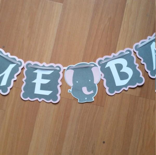 Elephant Baby Shower Banner Custom