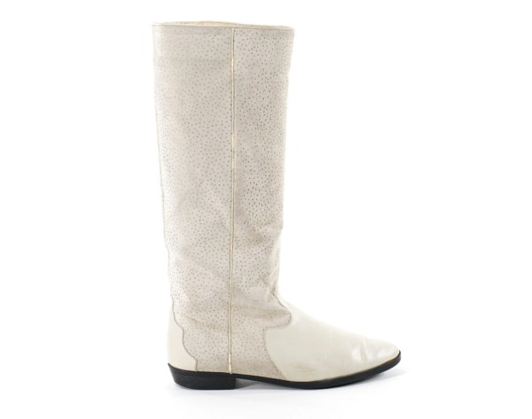 Leather Boots Ivory Speckled Cream Knee High Tall Flat Boot