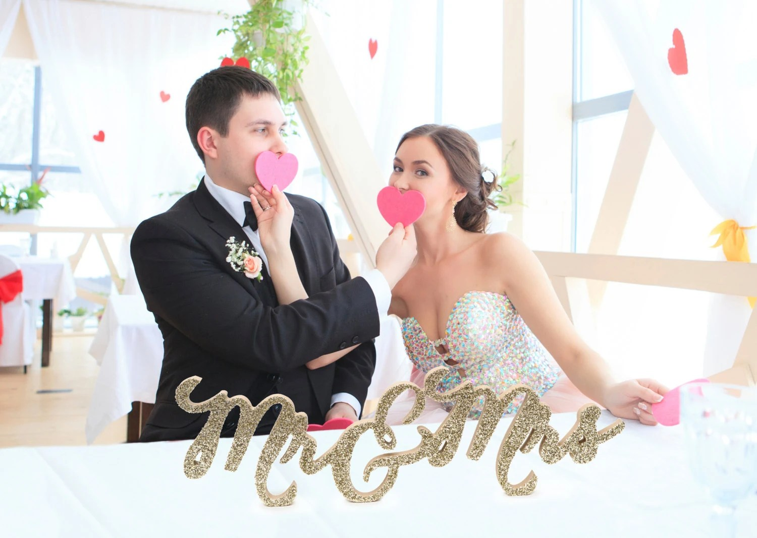 Mr And Mrs Wedding Sign For Wedding Sweetheart Table Mr And